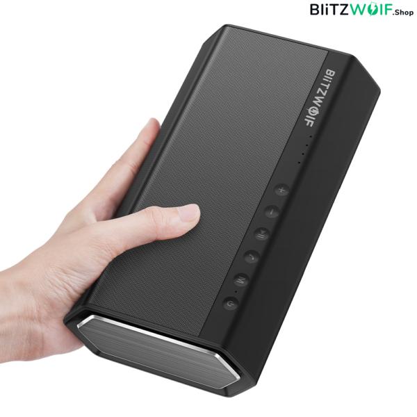 BlitzWolf® BW-AS2: 5200mAh Double Driver vezeték nélküli Bluetooth hangszóró beépített mélynyomóval (40W)