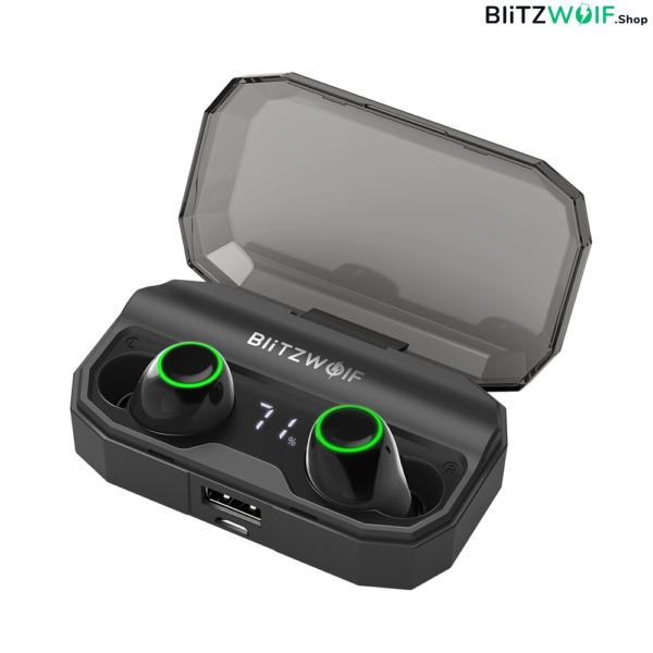 BlitzWolf® BW-FYE3S: vezeték nélküli prémium fülhallgató digitális kijelzővel (2600 mAh, IPX6)