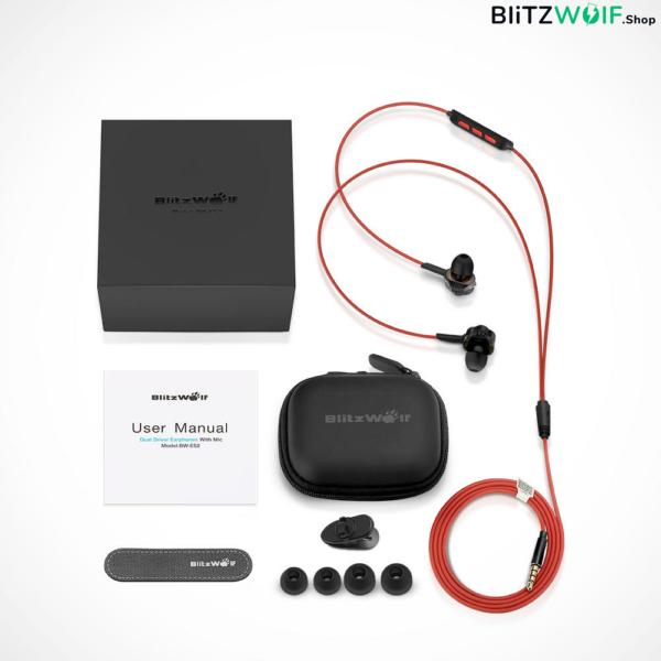 BlitzWolf® BW-ES2: Dual Dynamic Driver In-ear mikrofonos fülhallgató csomagban