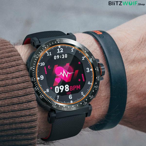 BlitzWolf BW-AT1: érintőkijelzős aktivitásmérő okosóra vérnyomás és pulzusmérővel - Fekete