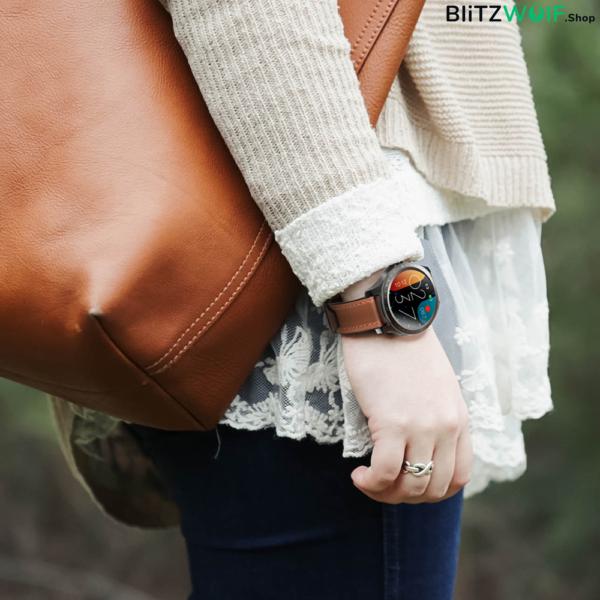 BlitzWolf BW-HL2: érintőkijelzős aktivitásmérő okosóra vérnyomás és pulzusmérővel - Fekete