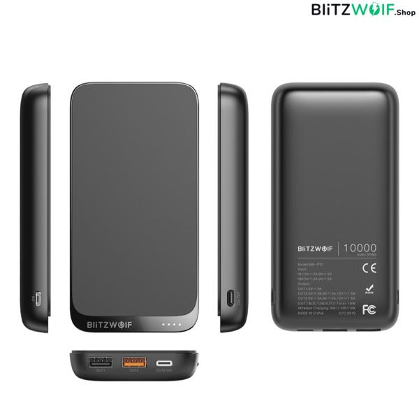 BlitzWolf® BW-P10: hordozható külső akkumulátor, vezeték nélküli töltéssel és 4 kimenetel - 10000mAh - Fekete