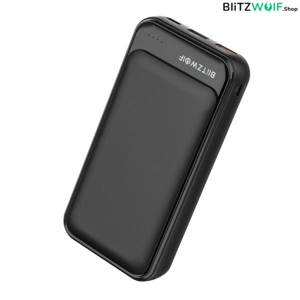 BlitzWolf® BW-P11: hordozható külső akkumulátor, vésztöltő, Power Bank - 20000mAh 18W - Fekete