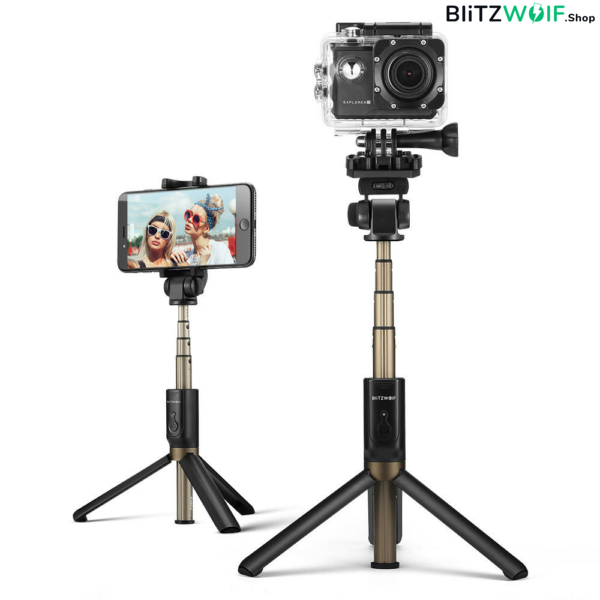 BlitzWolf® BW-BS3 SPORT: 360 fokos multifunkciós selfie bot - Fekete