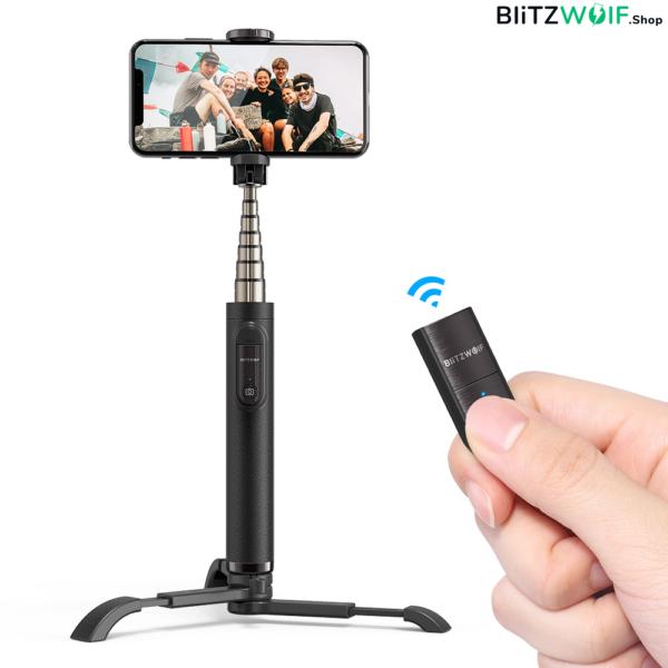BlitzWolf® BW-BS9: 66,5 cm hosszú multifunkciós selfie bot okostelefonhoz - Fekete