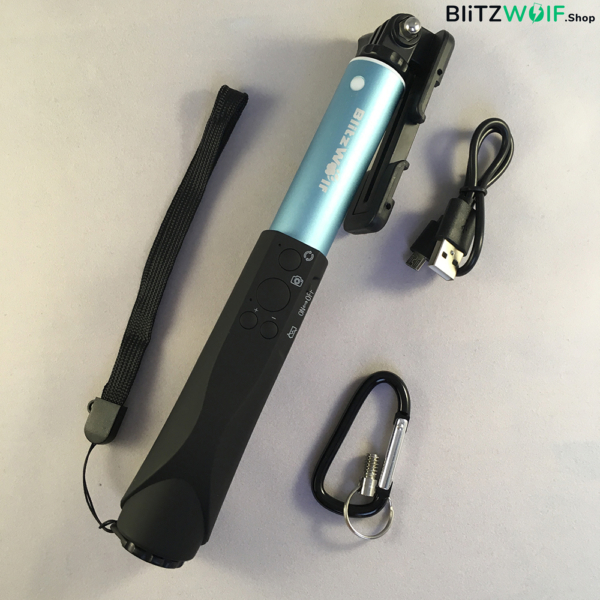 BlitzWolf® BW-BS1: alumínium bluetooth selfie bot 4 gombos vezérlővel - Égkék