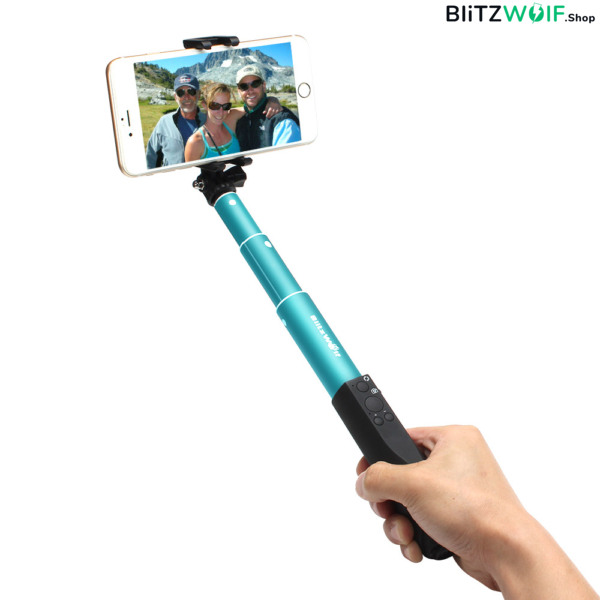 BlitzWolf® BW-BS1: Bluetooth alumínium selfie bot 4 gombos vezérlővel