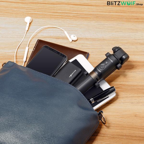 BlitzWolf® BW-BS3: 360 fokos multifunkciós selfie bot - Fekete