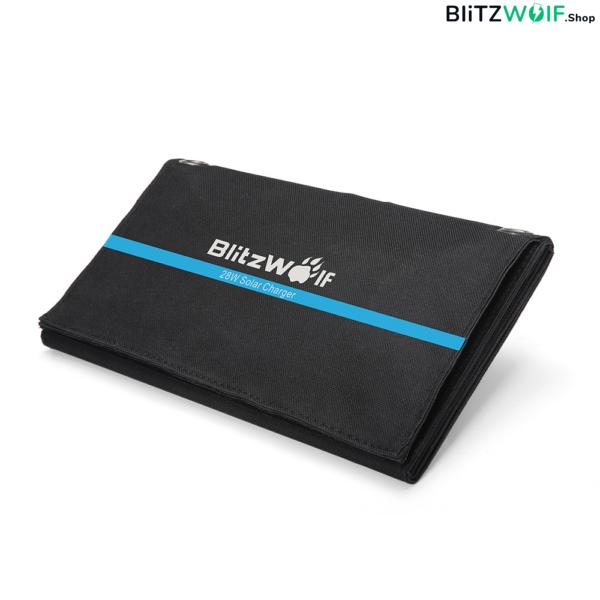 BlitzWolf® BW-L3: hordozható napelemes tok és mobiltelefontöltő (28W)