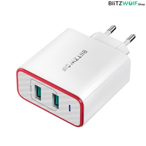BlitzWolf® BW-PL3: Dual USB hálózati gyorstöltő - 36W