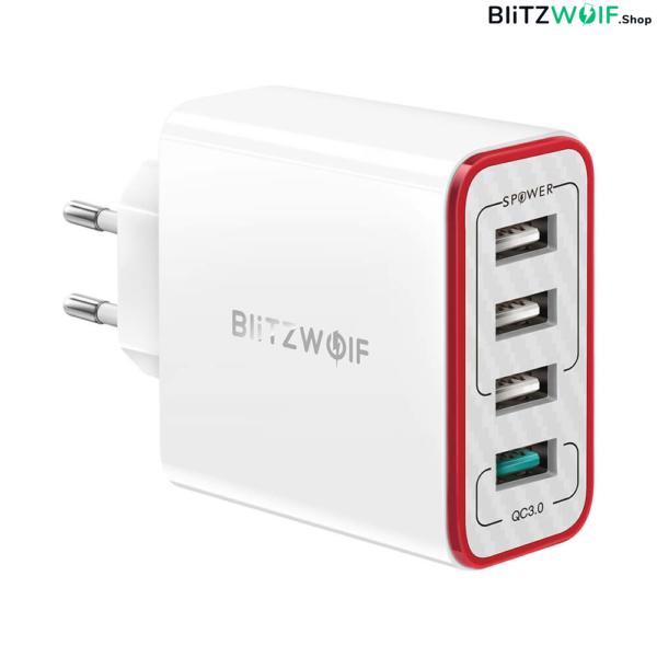 BlitzWolf® BW-PL5: 4 portos USB hálózati gyorstöltő - 30W