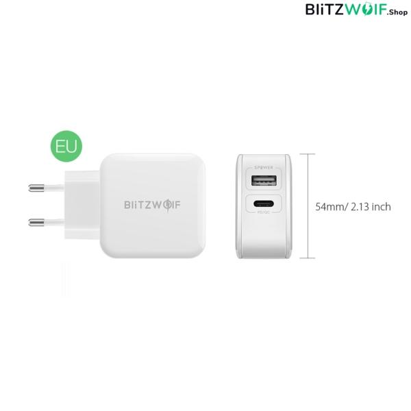 BlitzWolf® BW-S11: USB és Type-C hálózati gyorstöltő - 30W