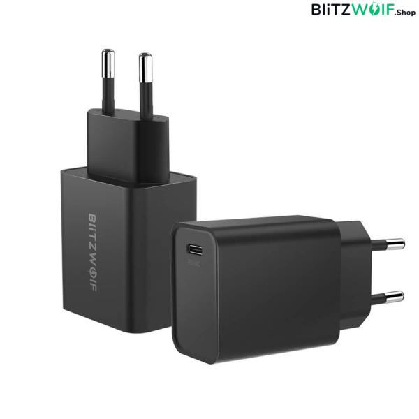 BlitzWolf® BW-S12: 27W-os gyorstöltő adapter Type-C porttal (QC4+, QC4.0, QC3.0, PD)