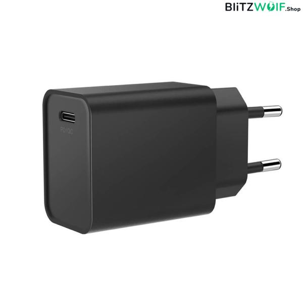 BlitzWolf® BW-S12: 27W-os gyorstöltő adapter Type-C porttal (QC4+, QC4.0, QC3.0, PD) - iPhone gyorstöltés