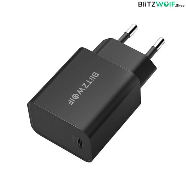 BlitzWolf® BW-S12: 27W-os gyorstöltő adapter Type-C porttal (QC4+, QC4.0, QC3.0, PD) - tartós anyagfelhasználás