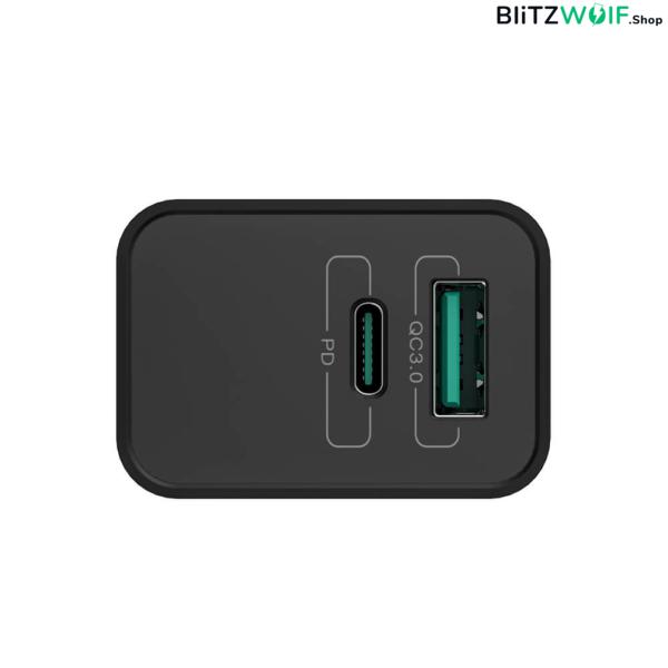 BlitzWolf® BW-S14: 18W-os gyorstöltő adapter Type-C és USB porttal