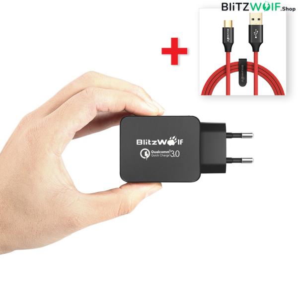 BlitzWolf® BW-S5: USB hálózati gyorstöltő - 18W + USB 3.0 Type-C töltő- és adatkábel (1,8m)