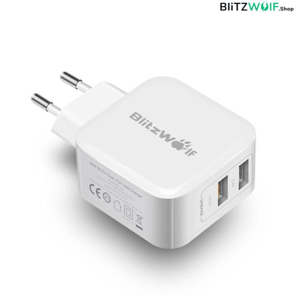 BlitzWolf® BW-S6: Dual USB hálózati gyorstöltő - 30W