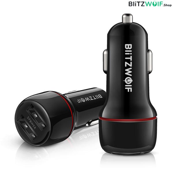 BlitzWolf® BW-SD1: USB szivargyújtóba dugható autós töltő 2 porttal – 24W