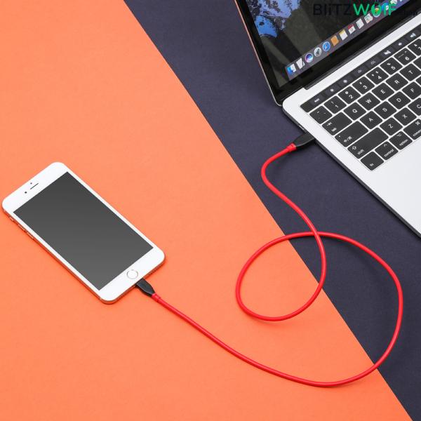 BlitzWolf® BW-CL1: Type-C - Lightning gyorstöltő kábel iPhonehoz (PD 3.0) - 0.91m