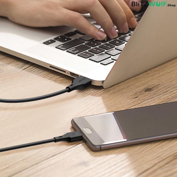 BlitzWolf® BW-MT1: Micro USB töltő- és adatkábel, Type C átalakítóval - 1m