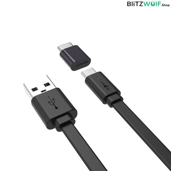 BlitzWolf® BW-MT2: Micro USB lapos töltő- és adatkábel, Type C átalakítóval - 1m