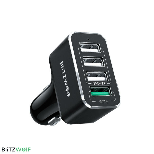 BlitzWolf® BW-SD3: USB szivargyújtóba dugható autós töltő 4 porttal - 50W