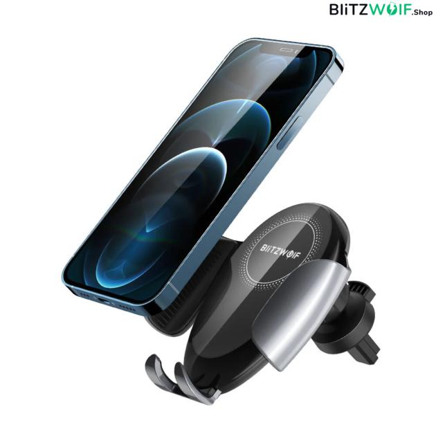 BlitzWolf BW-CW3: vezeték nélküli Qi gyorstöltő és autós telefontartó - 15W