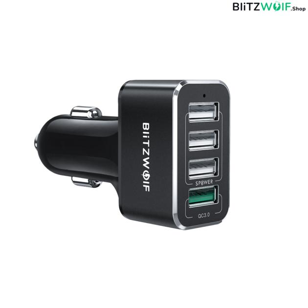 BlitzWolf® BW-SD3: USB szivargyújtóba dugható autós töltő 4 porttal - 50W 1