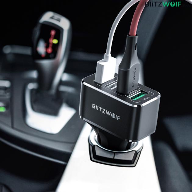 BlitzWolf® BW-SD3: USB szivargyújtóba dugható autós töltő 4 porttal - 50W 5