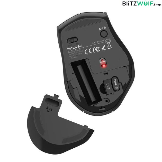 BlitzWolf® BW-MO2: 2,4 GHz-es vezeték nélküli ergonomikus Plug and Play 6 gombos egér 4 DPI-szinttel, USB-A és Type-C vevővel