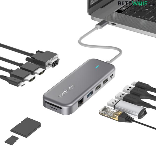 BlitzWolf® BW-TH11: 11 az 1-ben USB 3.0 Type-C elosztó 2 HDMI porttal (100W)