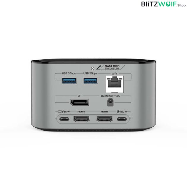 BlitzWolf® BW-TH12: 14 az 1-ben USB-C dokkoló - M.2 SATA 3.0 / 4K HDMI / 1x DP / 4x USB 3.0 port / 3x Type-C / 3.5 jack / 1x RJ45 LAN port