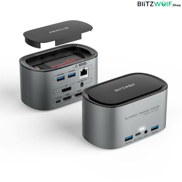 BlitzWolf® BW-TH12: 14 az 1-ben USB-C dokkoló - M.2 SATA 3.0, 4K HDMI, 1x DP, 4x USB 3.0 port, 3x Type-C, 3.5 jack, 1x RJ45 LAN port 1