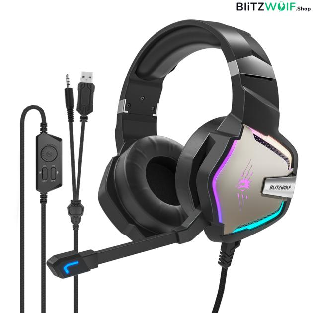 BlitzWolf® BW-GH1 Pro: Bluetooth Gamer 7.1 fejhallgató RGB leddel és USB csatlakozóval 1