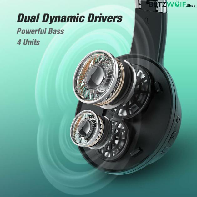 BlitzWolf® AirAux AA-ER3: Bluetooth 5.0 fejhallgató mikrofonnal és akár 40 órás üzemidővel - Fekete