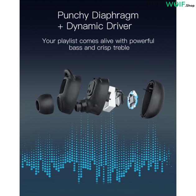 BlitzWolf® AIRAUX AA-UM1: vezeték nélküli mini fülhallgató töltődobozzal (TWS / IPX6)