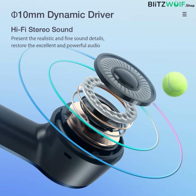 BlitzWolf® AirAux AA-UM10: TWS Bluetooth fülhallgató aktív zajszűréssel (IPX5)