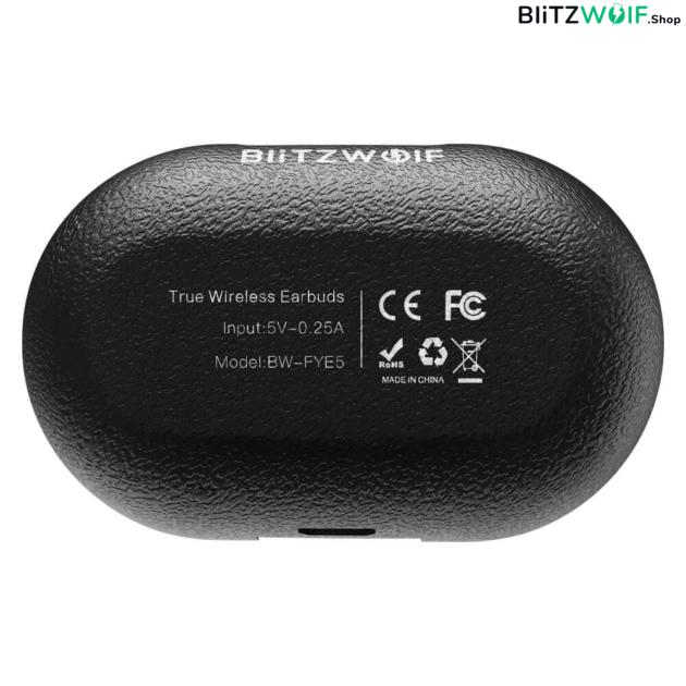 BlitzWolf® BW-FYE5: teljesen vezeték nélküli mini fülhallgató töltődobozzal - Fekete
