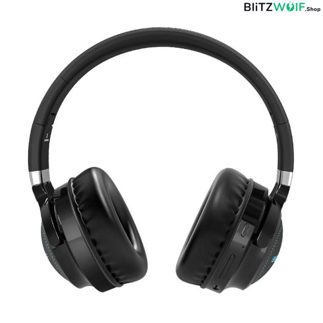 BlitzWolf® BW-HP0 Pro: Bluetooth fejhallgató RGB leddel és akár 42 órás üzemidővel szemből