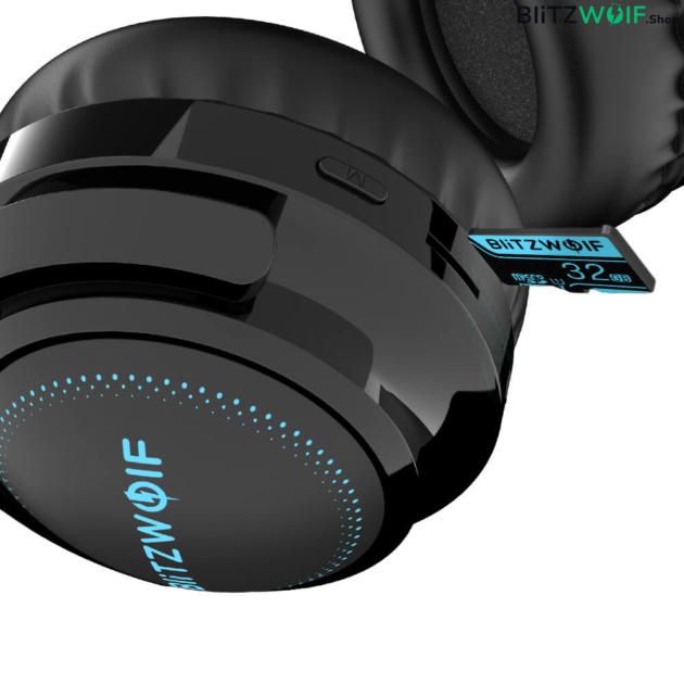BlitzWolf® BW-HP0 Pro: Bluetooth fejhallgató RGB leddel és akár 42 órás üzemidővel fülpárna