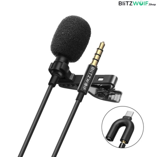 BlitzWolf® CM1: 3,5 mm-es jack dugós mikrofon