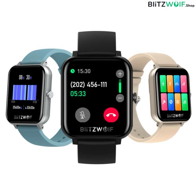 BlitzWolf® BW-GTC: érintőkijelzős aktivitásmérő okosóra 24 órás pulzusméréssel - Fekete 1