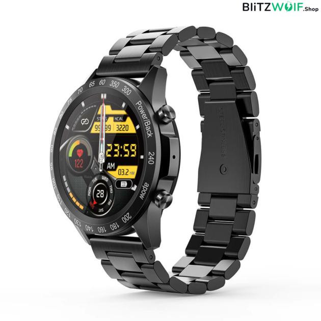 BlitzWolf® BW-HL4: intelligens óra Bluetooth hívással és tárcsázással, hívás és üzenet emlékeztetővel, zenelejátszással, Multi-sport módokkal, egészségügyi adatfigyelővel - Fekete