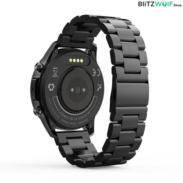 BlitzWolf® BW-HL4S: intelligens óra Bluetooth hívással és tárcsázással, hívás és üzenet emlékeztetővel, zenelejátszással, Multi-sport módokkal, egészségügyi adatfigyelővel - Ezüst