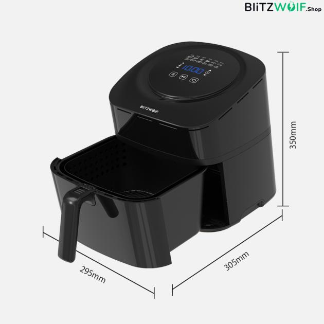 BlitzWolf® BW-AF1: olaj nélküli forró levegős okos fritőz digitális kijelzővel 1800W, 6 l kapacitással