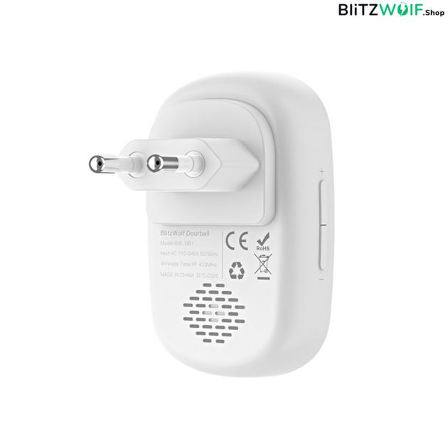 BlitzWolf® BW-DB1: RF 433Mhz vezeték nélküli csengő