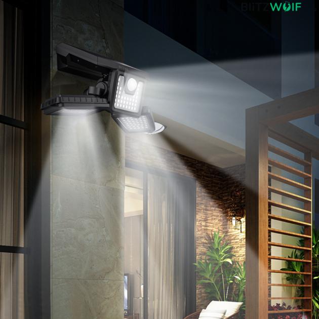 BlitzWolf® BW-OLT4: vízálló napelemes lámpa morgásérzékelővel ellátva (128 LED) 1