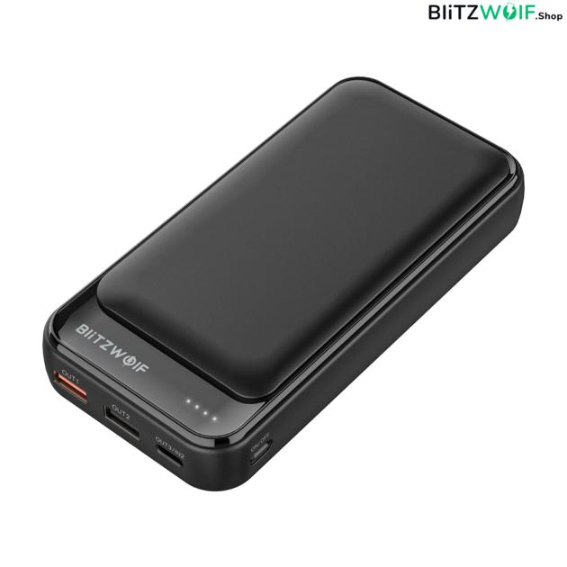 BlitzWolf® BW-P11: hordozható külső akkumulátor / vésztöltő / Power Bank - 20000mAh 18W - Fekete