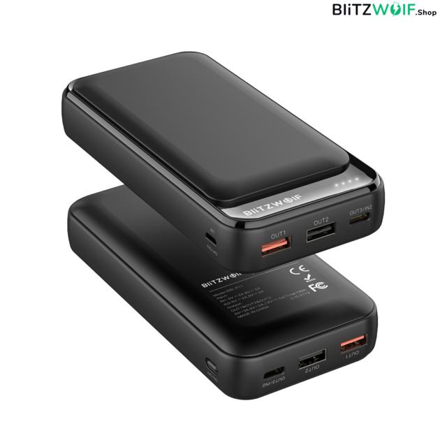 BlitzWolf® BW-P11: hordozható külső akkumulátor / vésztöltő / Power Bank - 20000mAh 18W - Fekete 6
